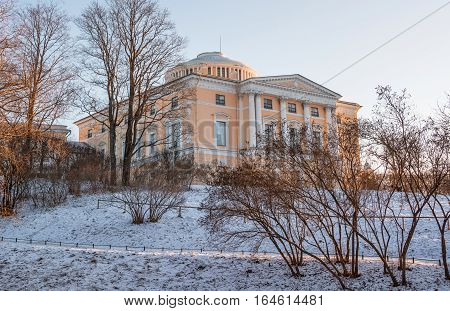 Grand Pavlovsk Palace - monument of architecture of 18-19 centuries. In its construction and ofrmlenii attended by famous world architects, painters and decorators - Cameron, Brenna, Quarenghi, Voronikhin.Russia, Saint-Petersburg. January 5, 2017