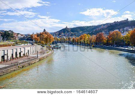 Mountain River Kura Runs In The Center Of Tbilisi.