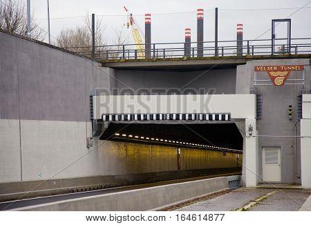 VELSEN THE NETHERLANDS - January 8 2017: Entrance of new built tunnel Velsertunnel in Velsen The Netherlands