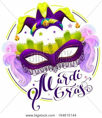 Mardi Gras lettering text. Purple carnival mask and clown cap. Isolated on white vector illustration