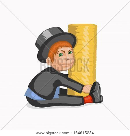 Happy businessman embracing his wealth. A man dressed in a suit and top hat. Vector illustration in cartoon style