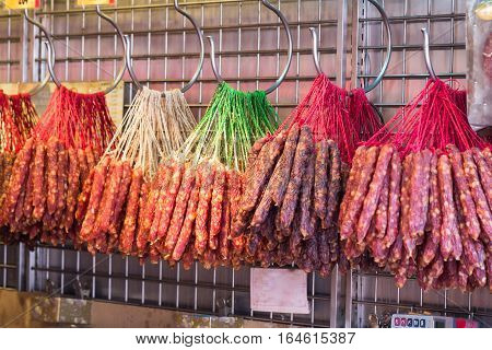 Chinese Sausage Or Lap Cheong On Display For Sale