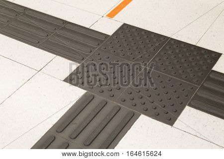 Closeup On Indoor Tactile Paving Foot Path For The Blind