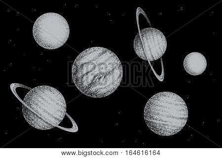 Collection of solar system planets.Dotwork.Engraving style.Vector illustratin