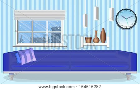 The interior of the room. Winter Style. Cool tones of winter. Design template. Vector illustration