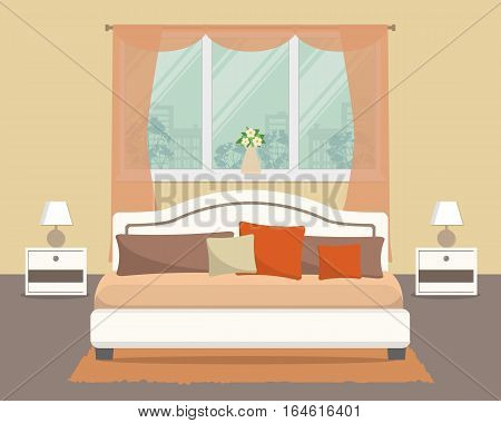 Bedroom in a beige color. There is a bed with pillows, bedside tables, lamps and other objects in the picture. Vector flat illustration
