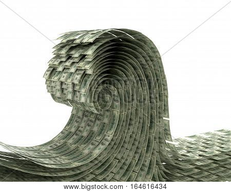 The wave of money on a white background. Wave dollars. 3D illustration