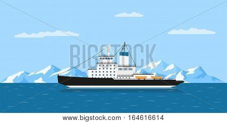 Icebergs And Ship