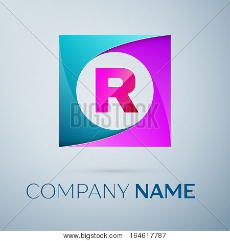 Letter R vector logo symbol in the colorful square on grey background. Vector template for your design