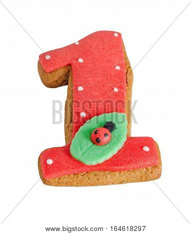 Figure One Made From Gingerbread, Ladybug On A Green Leaf, Close Up, White Background