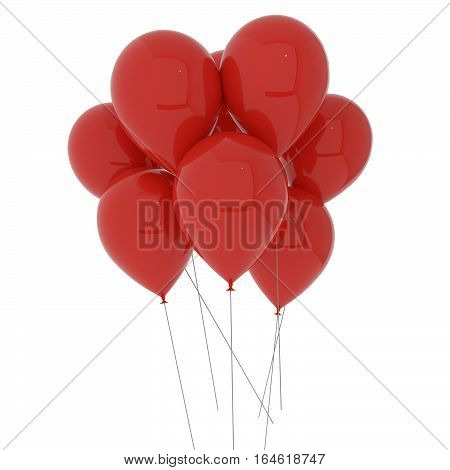 red balloons on isolated white in 3D illustration