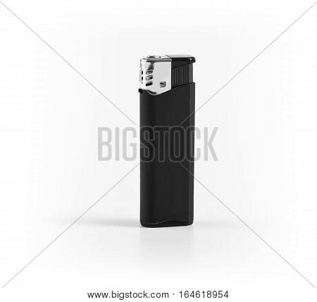 A black plastic lighter on white background