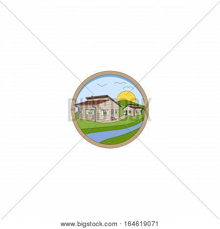 Prefabricated Houses Logo isolated on a white background.