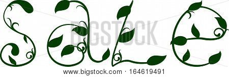 Spring sale text green floral design template