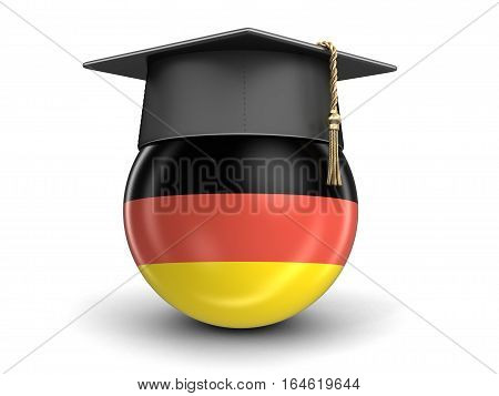 3D Ilustration. Graduation cap and German flag. Image with clipping path