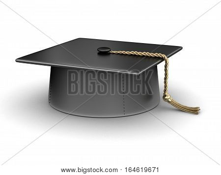 3D Ilustration. Graduation cap. Image with clipping path