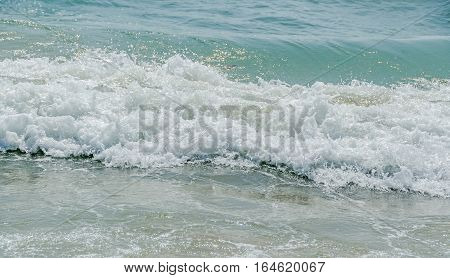 Blue, Green Water Waves, Black Sea Sandy Shore, Seaside With Lather Water, Close Up.
