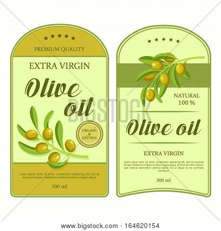 Creative stickers for olive oil with green olives. Vector labels used for bottle or can advertising organic olive products premium quality. Elegance retro design.