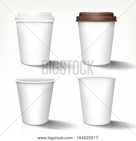 Set of realistic paper cups in front view. Vector templates, 3d design, fully editable handmade mesh. Disposable glasses used for logo design or advertising different hot drinks.