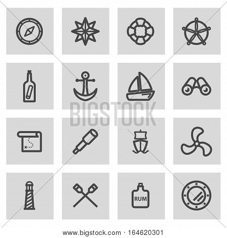 Vector line nautical icons set on grey background
