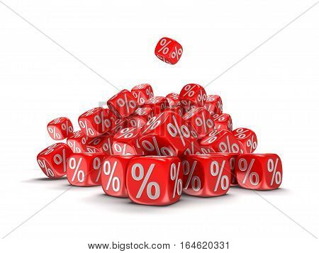 3D Ilustration. Dices with percent sign. Image with clipping path