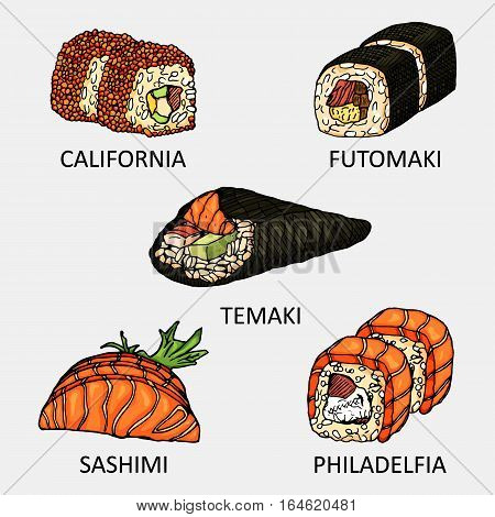 Graphic sushi set include sake, ebi, ikura and tamago icon. Vector colourful sketch used for advertising sushi menu or recipe book design.