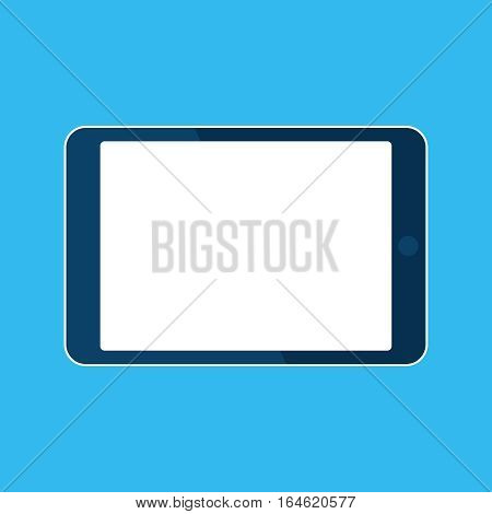 Tablet computer icon. Template horizontal blank white screen, mock up. Device isolated on blue. Vector cartoon flat illustration for web site, app, UITablet computer icon. Template horizontal blank white screen, mock up. Device isolated on blue. Vector ca