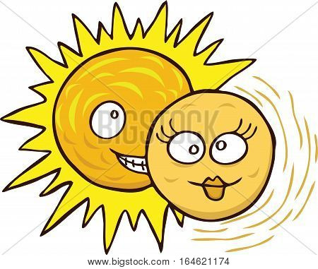 Cartoon illustration of eclipse of the sun