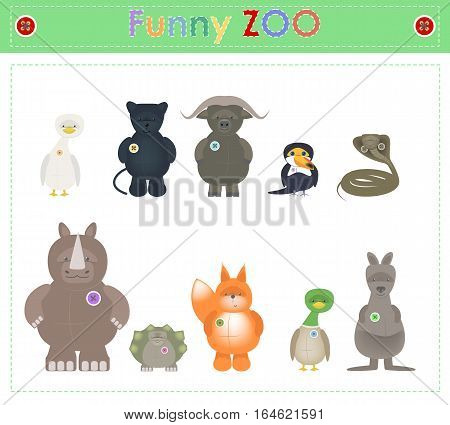 Animal Zoo part four. Funny small plush animals. cartoon Vector