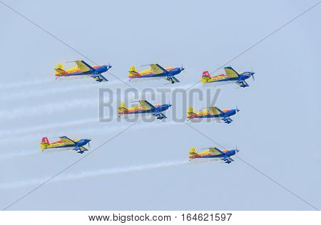 Bucharest, Romania - July 30, 2016. The Romanian Hawks Team Pilots With Their Colored Airplanes Trai