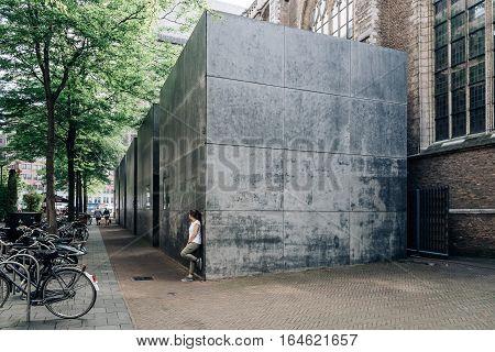 Rottedam The Netherlands - August 6 2016: Grote of Sint-Laurenskerk. Modern building extension