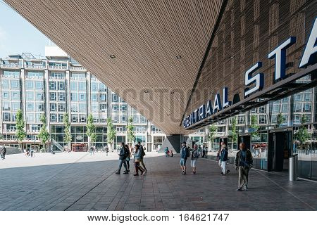Rottedam The Netherlands - August 6 2016: Central Station in Rotterdam it is an important transport hub.