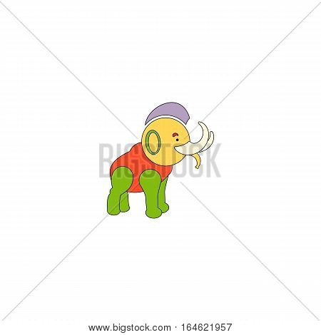 Colorful Reggae Mammoth vector illustration isolated on a white background.