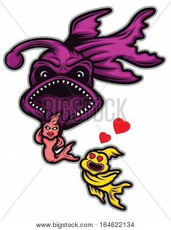 Cartoon illustration of a scary monster fish trapping its prey with its tongue. Vector animal character.