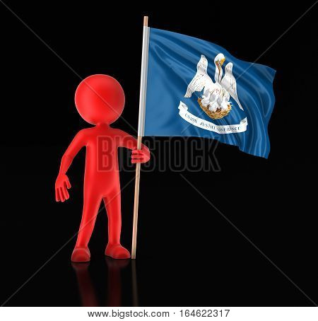 3D Ilustration. Man and flag of the US state of Louisiana. Image with clipping path