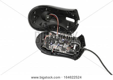 Dismantled computer mouse. Isolated on white background.