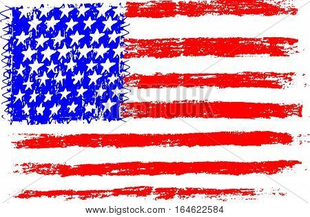 American flag pencil drawing illustration kid style vector illustration