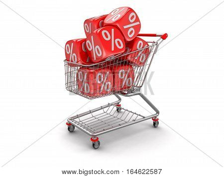 3D Ilustration. Shopping Cart and Dices with percent sign. Image with clipping path