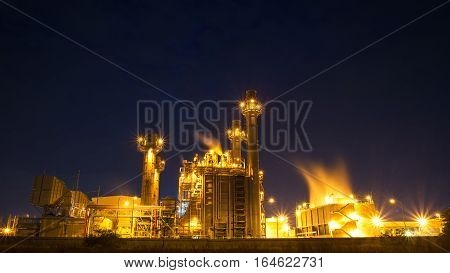 Petrochemical plant at twilight and sunset, Thailand