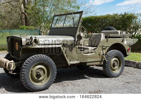 old four wheels drive military vehicle of world war two