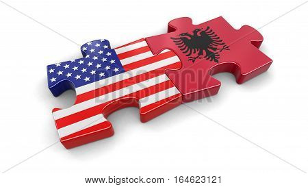 3D Ilustration. USA and Albania puzzle from flags. Image with clipping path