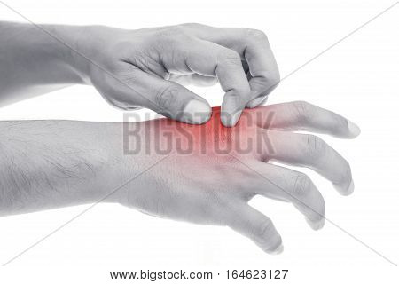 People scratch the itch with hand. itching Concept with Healthcare And Medicine.