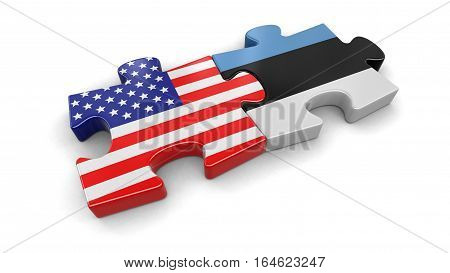 3D Ilustration. USA and Estonia puzzle from flags. Image with clipping path