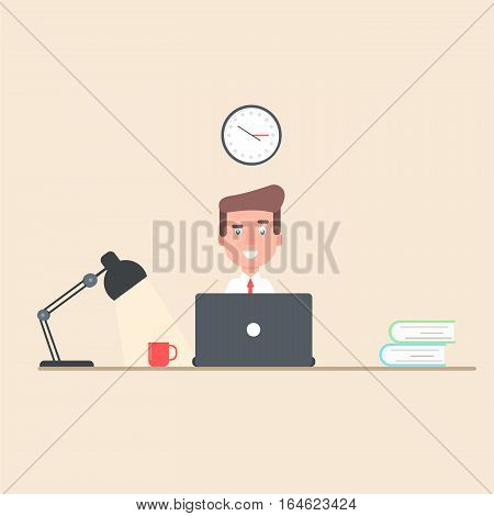 A businessman working at a laptop in the workplace. The man is sitting, a table with books, lamp. office. The flat style of illustration, vector, EPS10.