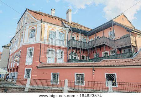 Sibiu, Romania - August 10, 2016: The House Luxembourg (casa Luxemburg).