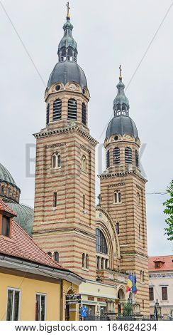 Sibiu, Romania - August 10, 2016: The Holy Trinity Cathedral (catedrala Sfânta Treime)