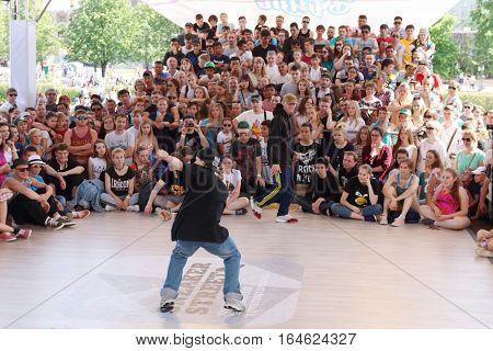 PERM RUSSIA - JUN 12 2016: Guy dances at Street fight festival on street stage during Day of Russia holiday this is public event