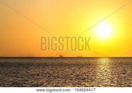 Beautiful sunrise over the tropical beach andaman Sea koh lanta krabi thailand
