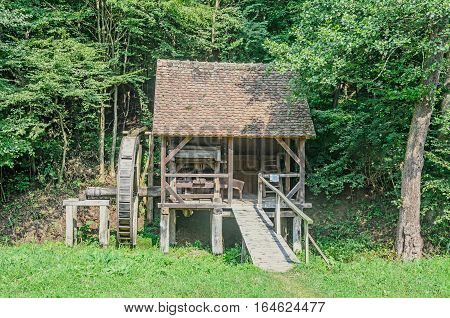 Watermill Close Up, Green Forest, Wild Vegetation, Blue Clouds Sky