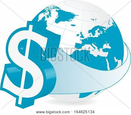 Rastered illustration of earth with dollar currency symbol